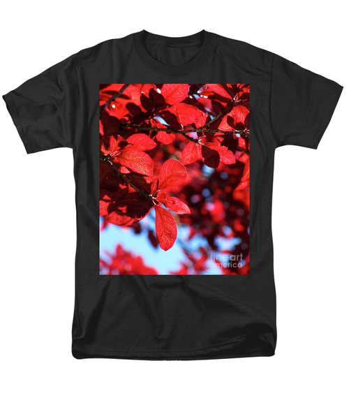 Men's T-Shirt  (Regular Fit) featuring the photograph Plum Tree Cloudy Blue Sky 2 by CML Brown
