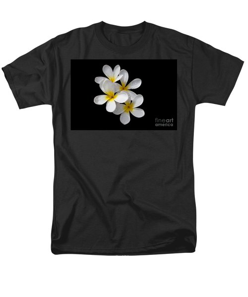 Plumerias Isolated On Black Background Men's T-Shirt  (Regular Fit) by David Millenheft
