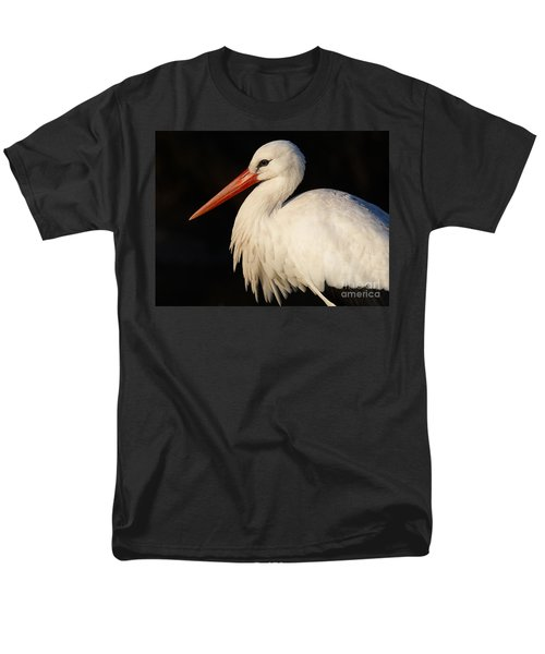 Portrait Of A Stork With A Dark Background Men's T-Shirt  (Regular Fit) by Nick  Biemans