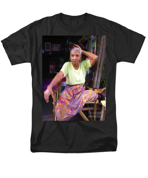 Men's T-Shirt  (Regular Fit) featuring the photograph Portrait Of Elderly Burmese Lady Sitting In Front Of Home 33rd Street Chanayethazan Mandalay Burma by Ralph A  Ledergerber-Photography