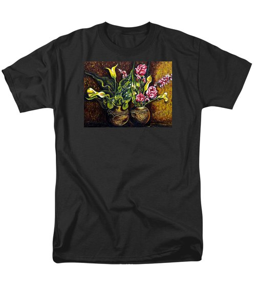 Men's T-Shirt  (Regular Fit) featuring the painting Pots And Flowers by Harsh Malik