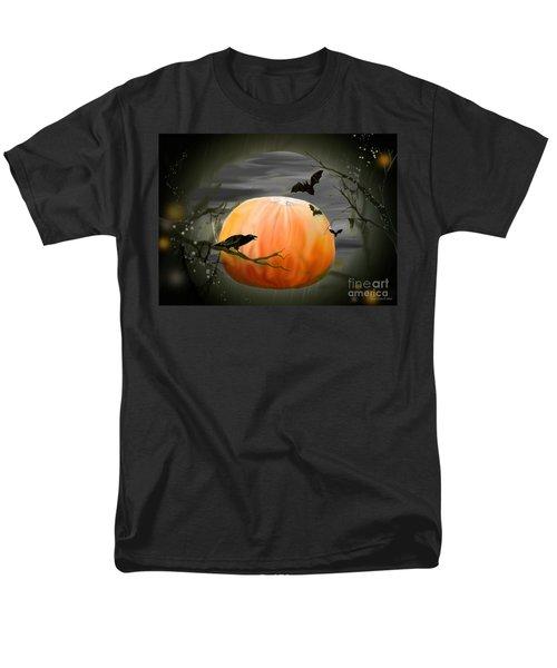 Pumpkin And Moon Halloween Art Men's T-Shirt  (Regular Fit) by Annie Zeno