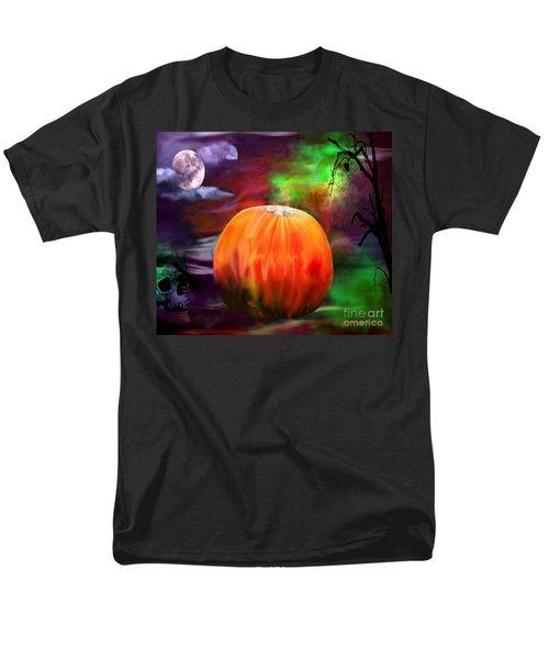 Pumpkin Skull Spider And Moon Halloween Art Men's T-Shirt  (Regular Fit) by Annie Zeno