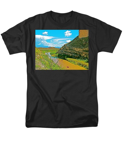 Rafting In Santa Elena Canyon In Big Bend National Park-texas Men's T-Shirt  (Regular Fit) by Ruth Hager