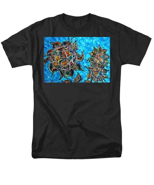 Rainbow Color Sunflowers Alcohol Inks Men's T-Shirt  (Regular Fit) by Danielle  Parent