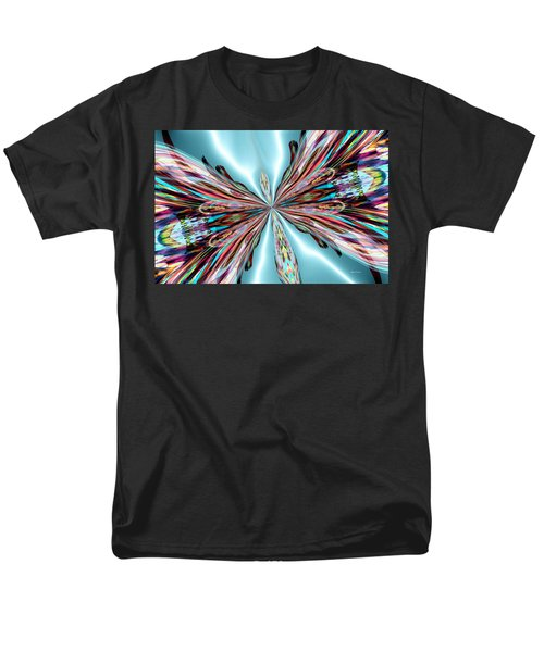 Rainbow Glass Butterfly On Blue Satin Men's T-Shirt  (Regular Fit) by Maria Urso
