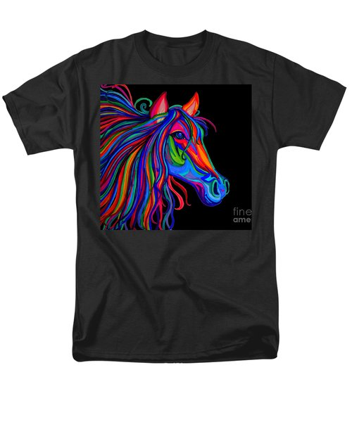 Rainbow Horse Head Men's T-Shirt  (Regular Fit) by Nick Gustafson