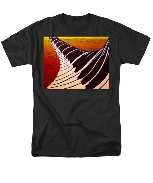 Men's T-Shirt  (Regular Fit) featuring the painting Rainbow Piano Keyboard Twist In Acrylic Paint With Sheet Music Notes In Blue Yellow Orange Red by M Zimmerman MendyZ