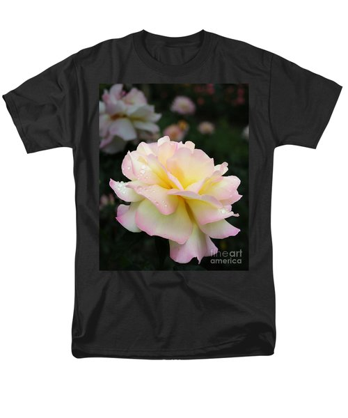 Men's T-Shirt  (Regular Fit) featuring the photograph Raindrops On Rose Petals by Barbara McMahon