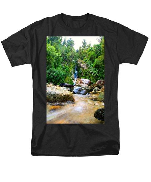 Men's T-Shirt  (Regular Fit) featuring the photograph Rainforest Stream New Zealand by Amanda Stadther