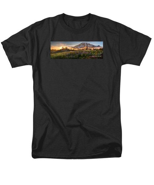 Rainier Golden Light Sunset Meadows Men's T-Shirt  (Regular Fit) by Mike Reid
