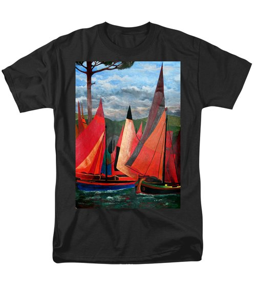 Men's T-Shirt  (Regular Fit) featuring the painting Ravenna Regatta by Tracey Harrington-Simpson
