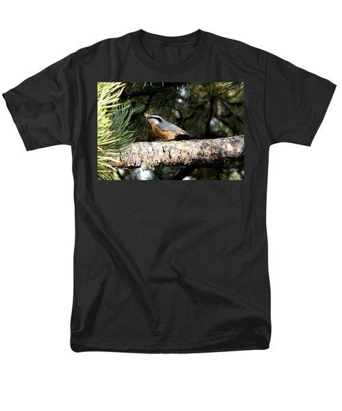 Red-breasted Nuthatch In Pine Tree Men's T-Shirt  (Regular Fit) by Marilyn Burton