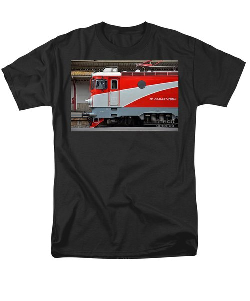 Men's T-Shirt  (Regular Fit) featuring the photograph Red Electric Train Locomotive Bucharest Romania by Imran Ahmed