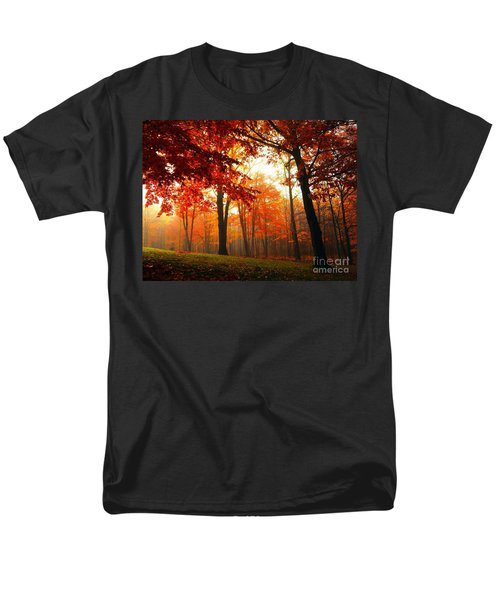 Red Maple Forest Men's T-Shirt  (Regular Fit) by Terri Gostola