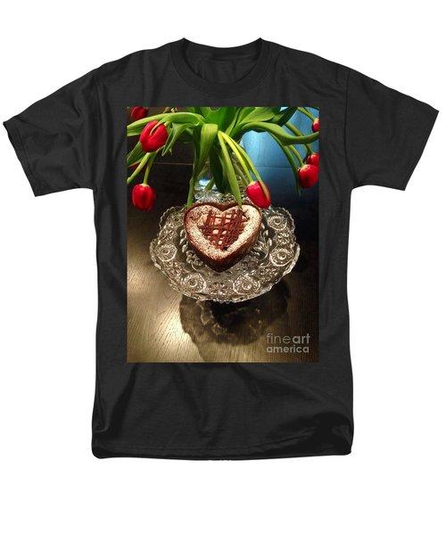 Red Tulip And Chocolate Heart Dessert Men's T-Shirt  (Regular Fit) by Susan Garren