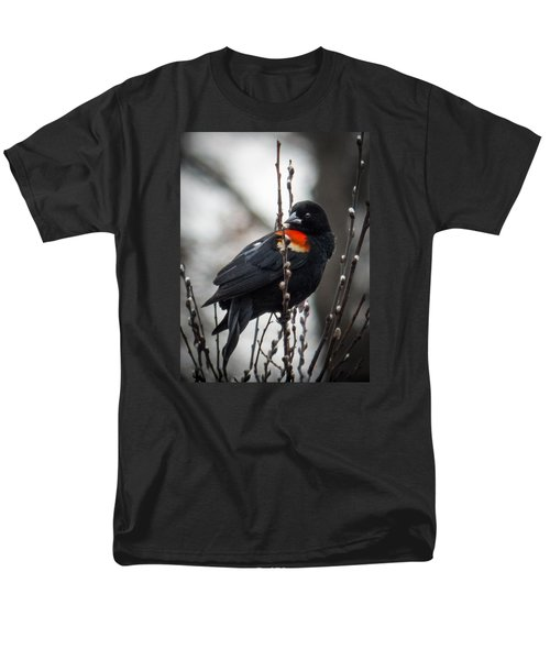 Men's T-Shirt  (Regular Fit) featuring the photograph Red Winged Blackbird In Pussy Willows by Patti Deters