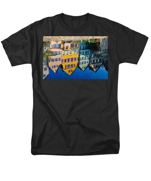 Reflection Of Colorful Houses In Neckar River Tuebingen Germany Men's T-Shirt  (Regular Fit) by Matthias Hauser