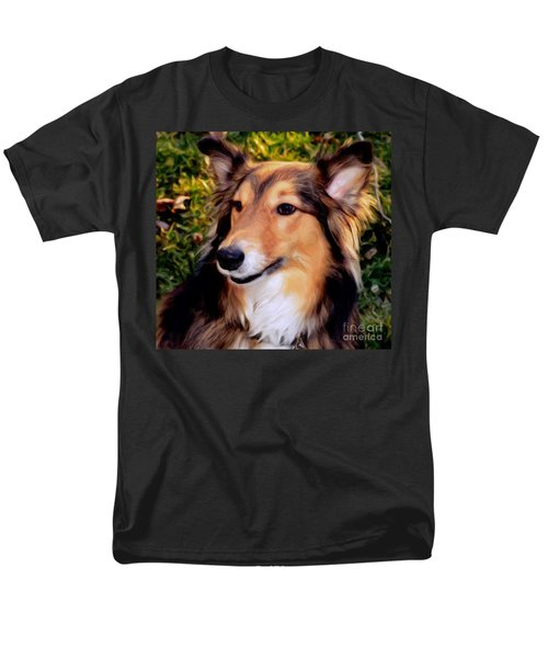 Dog - Collie - Regal Shelter Dog Men's T-Shirt  (Regular Fit) by Luther Fine Art