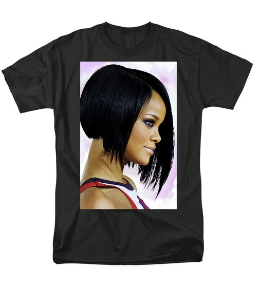 Rihanna Artwork Men's T-Shirt  (Regular Fit) by Sheraz A
