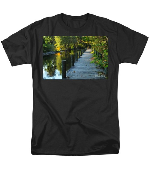 Men's T-Shirt  (Regular Fit) featuring the photograph River Walk In Traverse City Michigan by Terri Gostola
