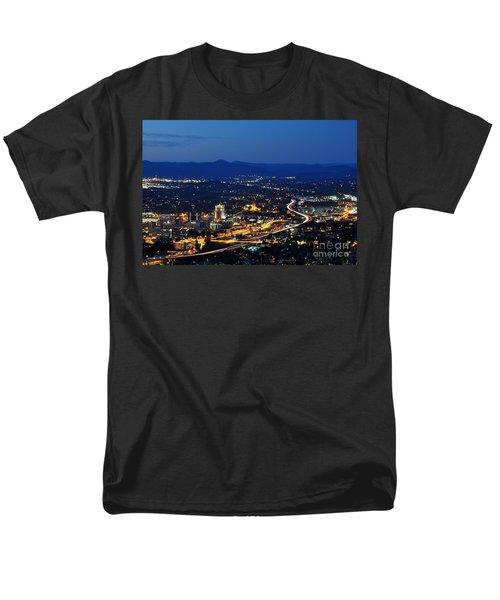 Roanoke City As Seen From Mill Mountain Star At Dusk In Virginia Men's T-Shirt  (Regular Fit) by Paul Fearn