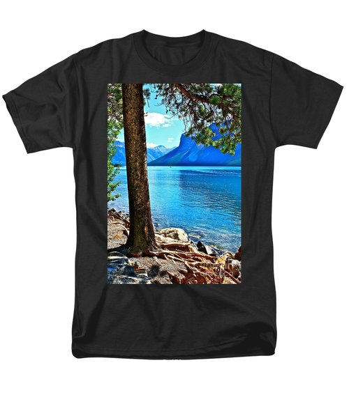 Men's T-Shirt  (Regular Fit) featuring the photograph Rooted In Lake Minnewanka by Linda Bianic