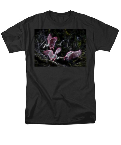 Men's T-Shirt  (Regular Fit) featuring the digital art Roseate Spoonbills 1 by William Horden