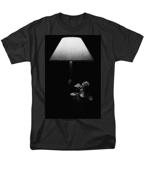 Men's T-Shirt  (Regular Fit) featuring the photograph Roses By Lamplight Bw by Ron White