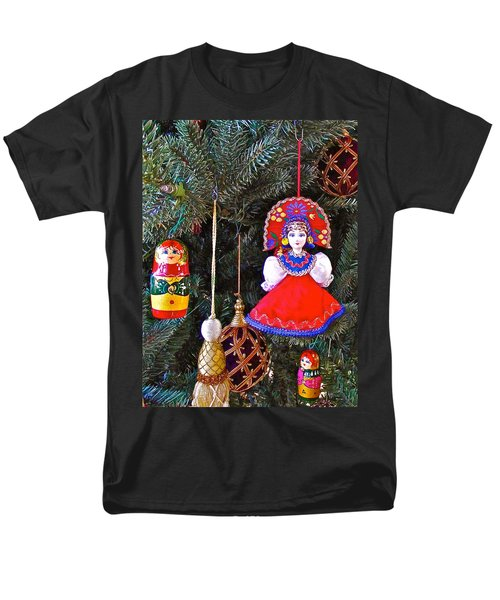 Russian Christmas Tree Decoration In Fredrick Meijer Gardens And Sculpture Park In Grand Rapids-mi Men's T-Shirt  (Regular Fit) by Ruth Hager