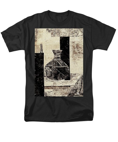 Rustic Vase Black And White Men's T-Shirt  (Regular Fit) by Patricia Cleasby