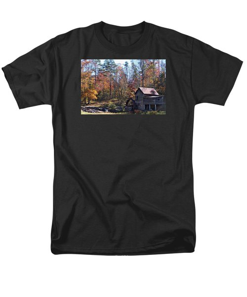 Men's T-Shirt  (Regular Fit) featuring the photograph Rustic Water Mill In Autumn by William Tanneberger