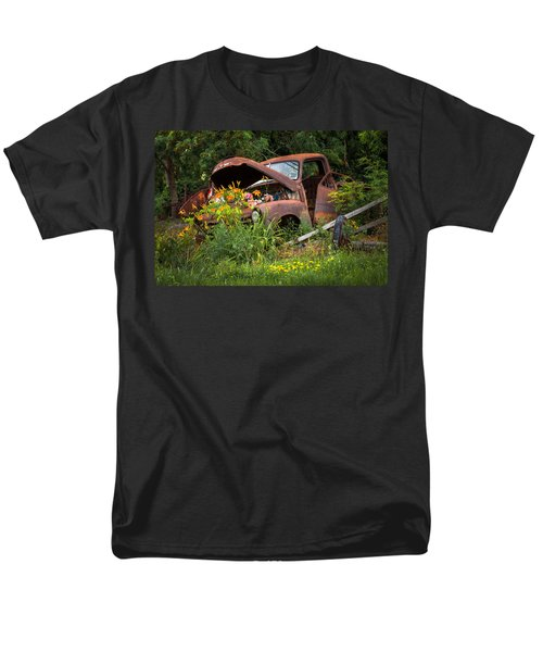 Men's T-Shirt  (Regular Fit) featuring the photograph Rusty Truck Flower Bed - Charming Rustic Country by Gary Heller