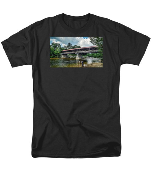 Men's T-Shirt  (Regular Fit) featuring the photograph Saco River Covered Bridge  by Debbie Green