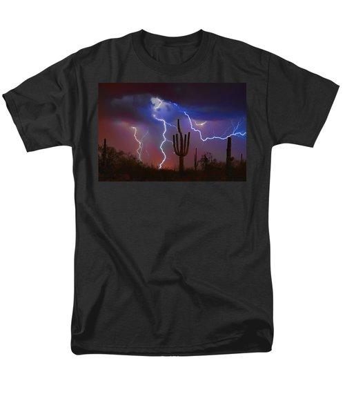 Saguaro Lightning Nature Fine Art Photograph Men's T-Shirt  (Regular Fit)