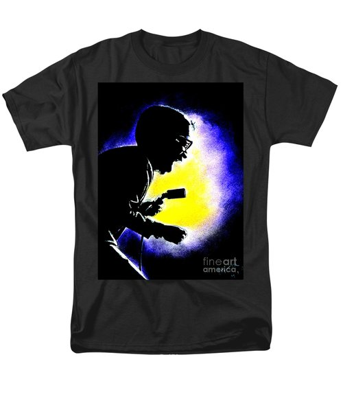 Men's T-Shirt  (Regular Fit) featuring the drawing Sammy David Jr Singing His Heart Out by Jim Fitzpatrick