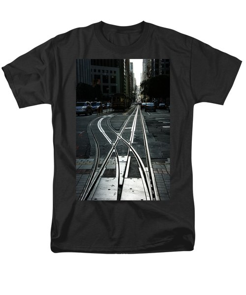 Men's T-Shirt  (Regular Fit) featuring the photograph San Francisco Silver Cable Car Tracks by Georgia Mizuleva