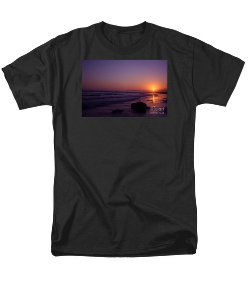 Men's T-Shirt  (Regular Fit) featuring the photograph Seagull Watching The Sunset Carpinteria State Beach by Ian Donley