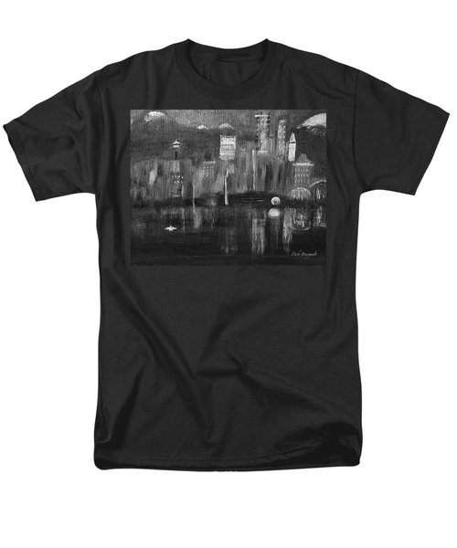 Seattle Black And White Men's T-Shirt  (Regular Fit) by Dick Bourgault
