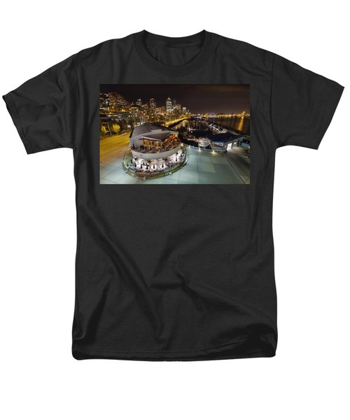 Men's T-Shirt  (Regular Fit) featuring the photograph Seattle City Skyline And Marina At Night by JPLDesigns