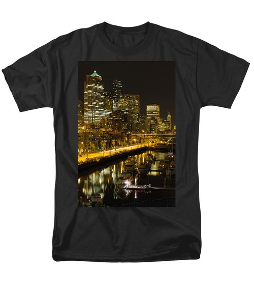 Men's T-Shirt  (Regular Fit) featuring the photograph Seattle Downtown Waterfront Skyline At Night by JPLDesigns