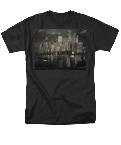 Seattle In The Rain Cityscape Men's T-Shirt  (Regular Fit) by Dick Bourgault