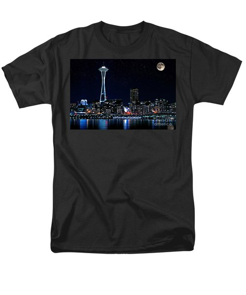 Men's T-Shirt  (Regular Fit) featuring the photograph Seattle Skyline At Night With Full Moon by Valerie Garner