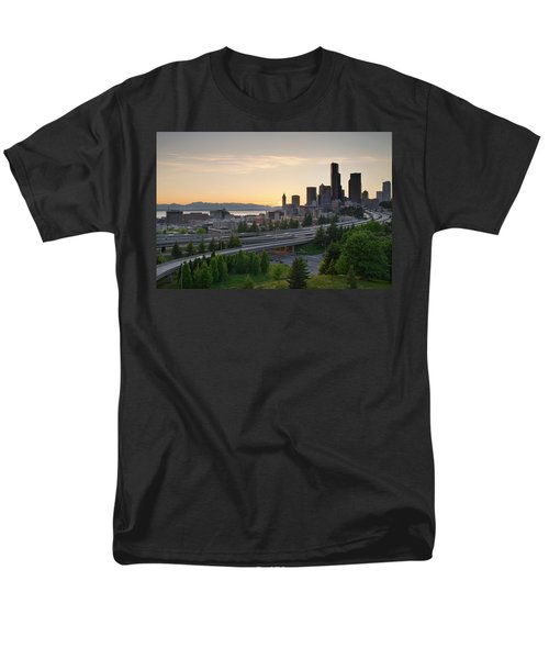 Men's T-Shirt  (Regular Fit) featuring the photograph Seattle Washington Downtown City Sunset by JPLDesigns