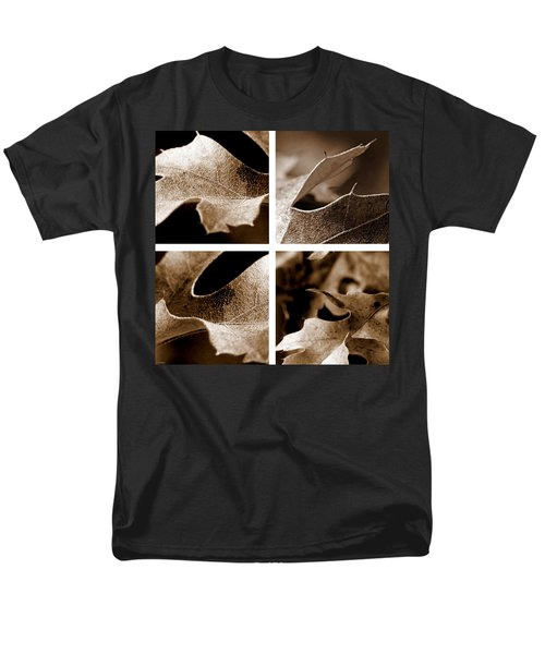 Men's T-Shirt  (Regular Fit) featuring the photograph Sepia Leaf Collage by Lauren Radke