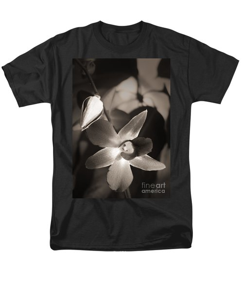Men's T-Shirt  (Regular Fit) featuring the photograph Sepia Orchid by Ellen Cotton