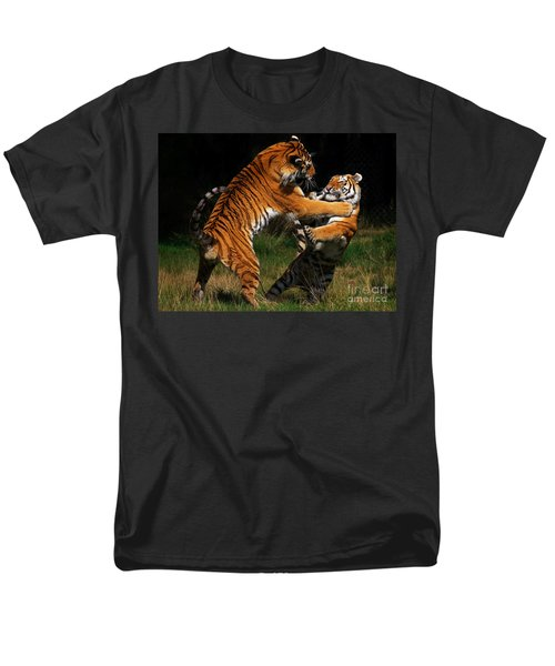Men's T-Shirt  (Regular Fit) featuring the photograph Siberian Tigers In Fight by Nick  Biemans