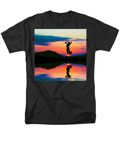 Silhouette Of Happy Woman Jumping At Sunset Men's T-Shirt  (Regular Fit) by Michal Bednarek