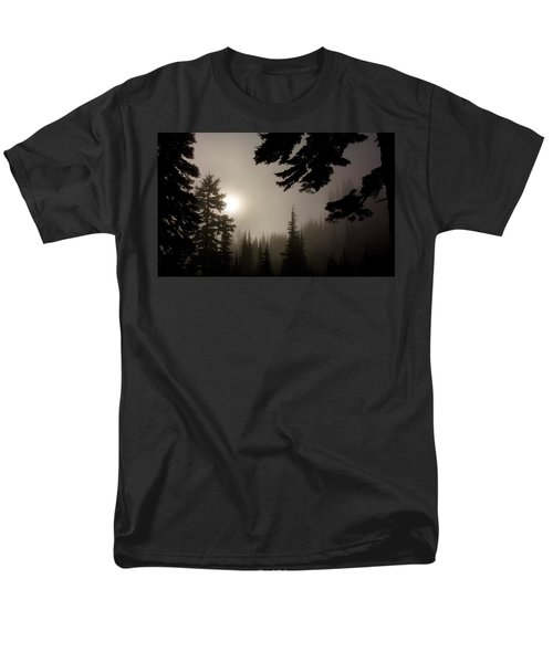 Silhouettes Of Trees On Mt Rainier Men's T-Shirt  (Regular Fit) by Greg Reed