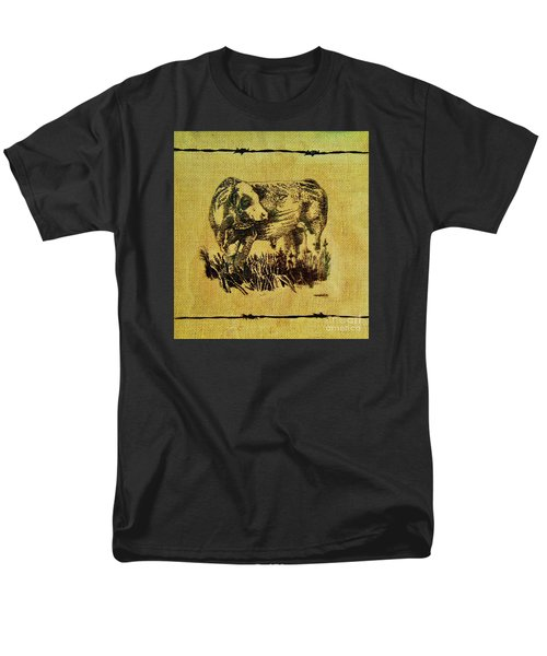 Men's T-Shirt  (Regular Fit) featuring the drawing Simmental Bull 12 by Larry Campbell